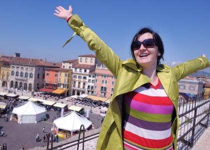 tourist woman in italian city verona